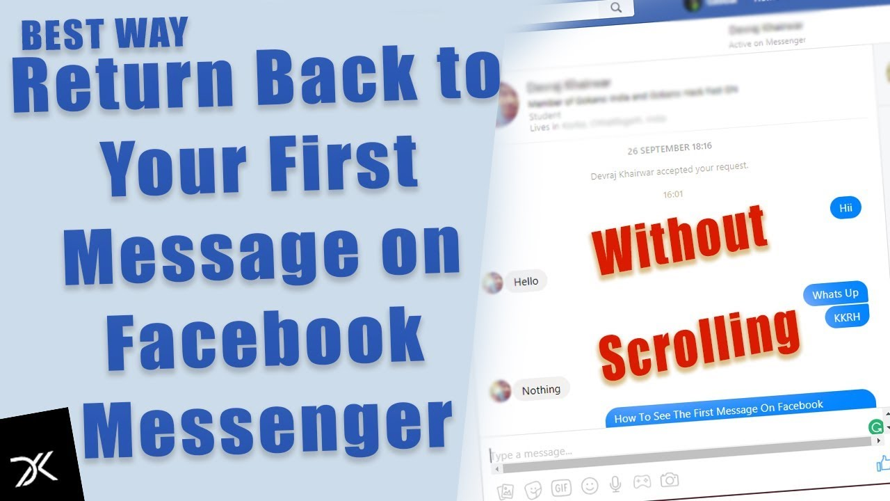 How to go to the first message on facebook
