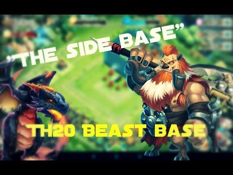 Castle Clash; The Side Base TH20 HBM Beast Base!