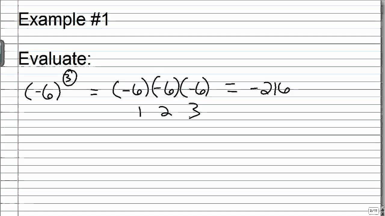 worksheet Negative Numbers With Exponents exponents with a negative base youtube base