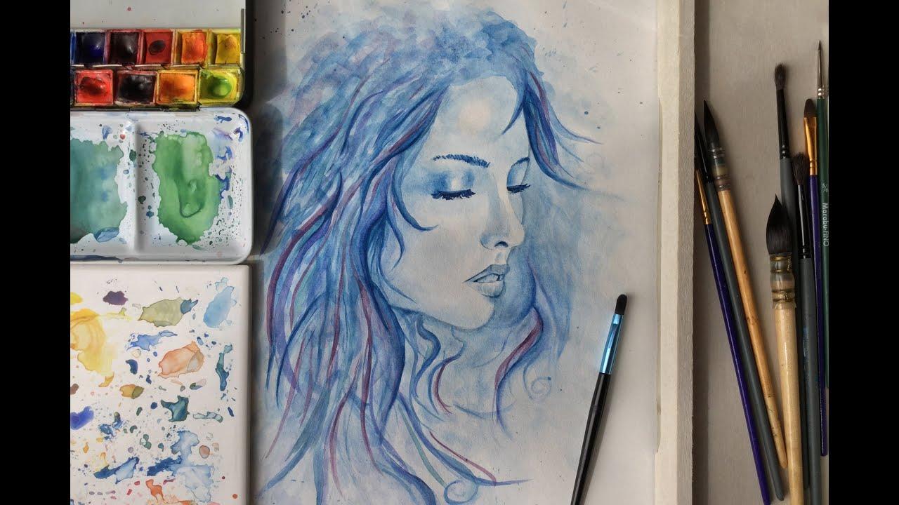 Peinture Speed Painting La Fille De L 39 Eau Aquarelle Sabcreations Youtube