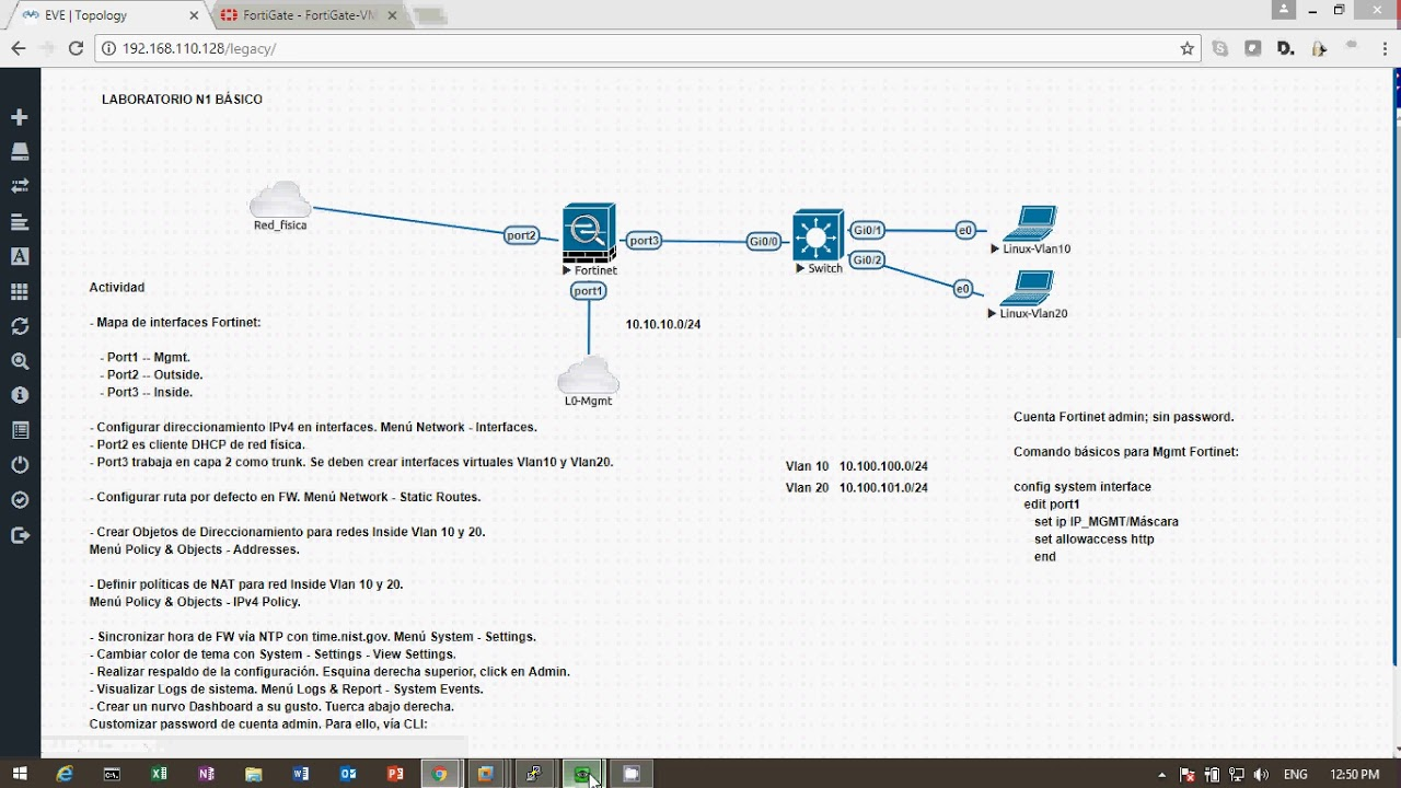 Preview Lab Fortinet Fortigate 5 6 Basic Settings on EVE-ng (spanish)