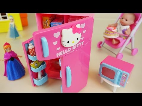 Thumbnail: Hello Kitty refrigerator and Baby doll kitchen toys