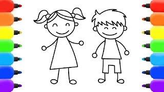 كيفية رسم صبي وفتاة للأطفال المبتدئين How To Draw A Boy And Girl For Novice Kids Youtube