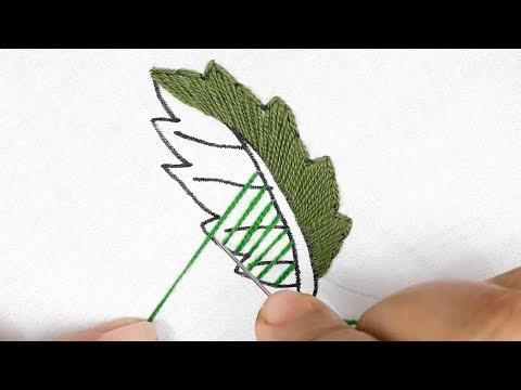 Hand embroidery Leaf design tutorial || Stem & Cross stitch leaf design using pearl thumbnail