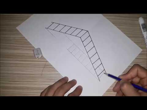 ÇOK KOLAY !!! 3 Boyutlu Merdiven Çizimi___How to Draw a 3D Ladder