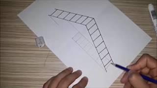 ÇOK KOLAY !!! 3 Boyutlu Merdiven Çizimi___How to Draw a 3D Ladder - Trick Art For Kids