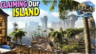 ISLAND CLAIMING + BUILDING (LION ATTACK!) in Atlas Pirate Survival Gameplay Part 4