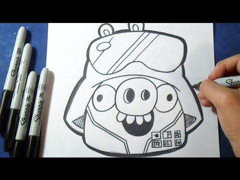 como desenhar porco angry birds star wars youtube