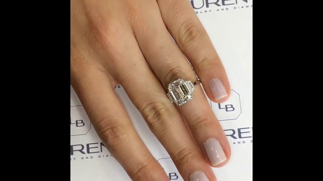 5 40 Ct Emerald Cut Diamond 3 Stone Engagement Ring Youtube