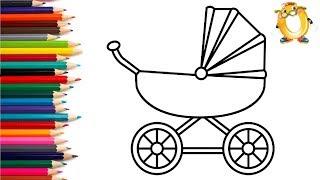 Раскраска для детей КОЛЯСКА. Мультик - Раскраска. Учим цвета II ОБУЧАШКА ТВ