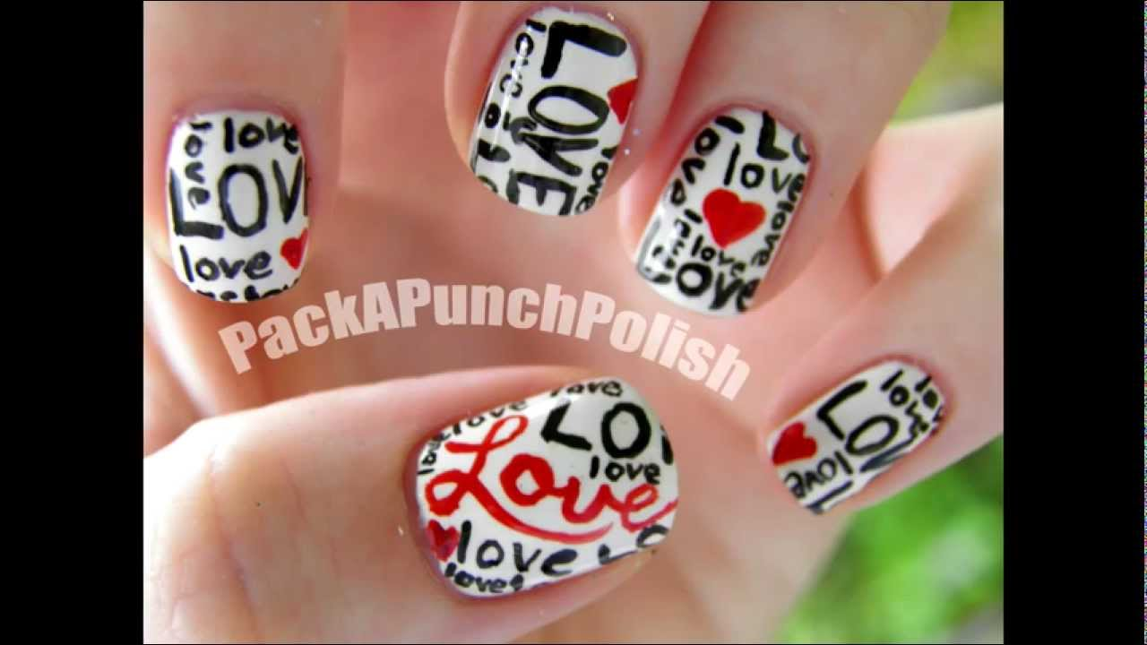 Love and Hearts Nail Art Tutorial - Love And Hearts Nail Art Tutorial - YouTube