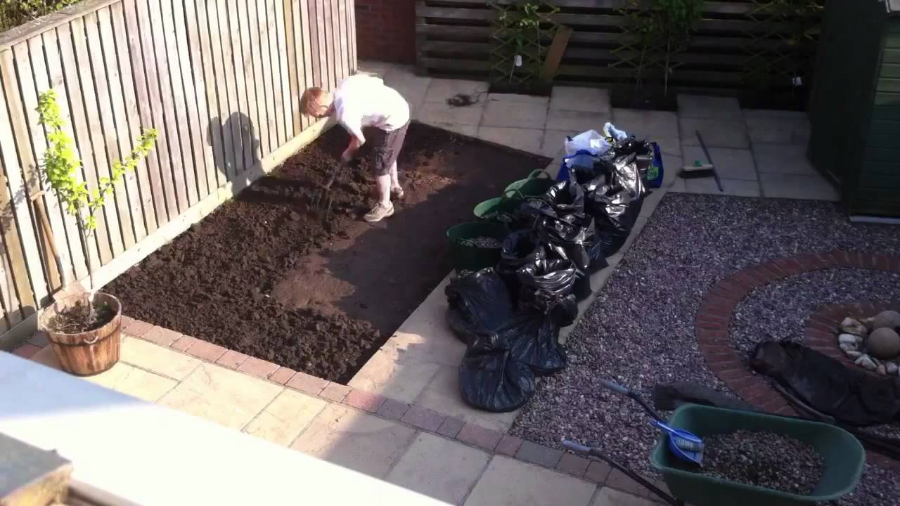 Time Lapse Garden Landscaping Gravel To Turf In 3mins