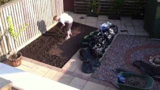 Time-lapse garden landscaping: Gravel to turf in 3mins