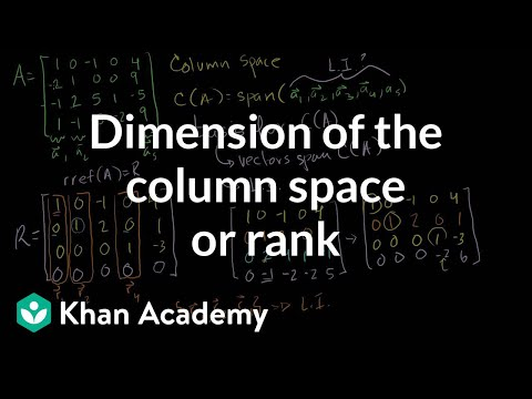 Dimension Of The Column Space Or Rank | Vectors And Spaces | Linear Algebra | Khan Academy