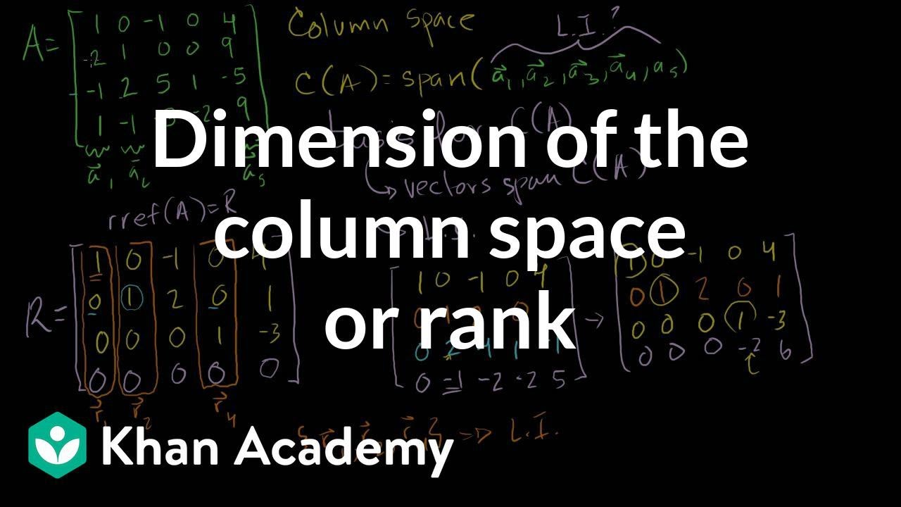 Dimension of the column space or rank vectors and spaces linear dimension of the column space publicscrutiny Image collections
