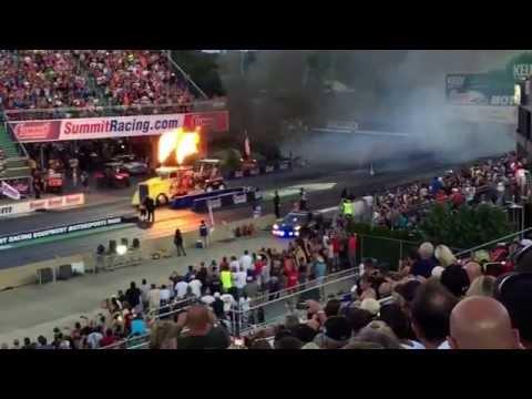 Shockwave blows up asphalt at 45 sec in Night Under Fire 2015 Norwalk, Ohio