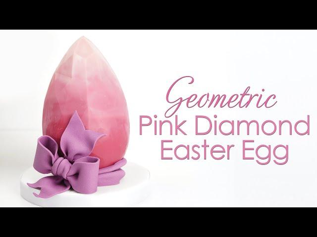 Geometric 'Pink Diamond' Chocolate Easter Egg Tutorial with Gumpaste Bow