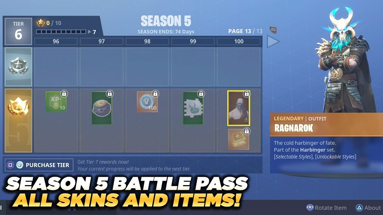 ALL SKINS AND ITEMS Season 5 Battle Pass Tier 100   Fortnite Battle     ALL SKINS AND ITEMS Season 5 Battle Pass Tier 100   Fortnite Battle Royale