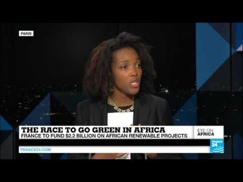 Sandrine Mubenga of SMIN Power Group on renewable energy for Africa at France24 during COP21- 12/2