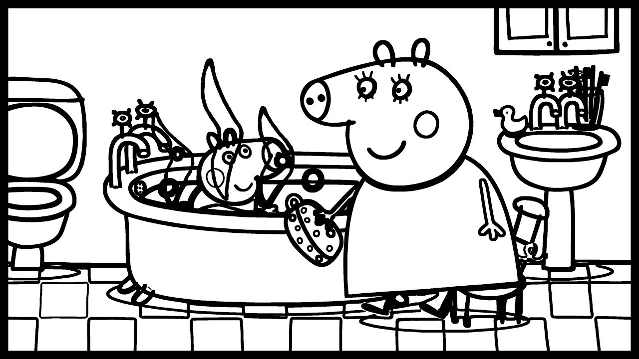 Water bath in the bathroom | Peppa Pig Coloring Page ...