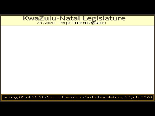 Sitting No 09/2020, second session of the sixth Legislature, Thursday 23 July 2020