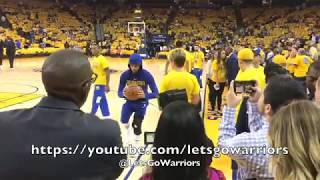 Steph Curry MCL rehab workout, pregame Game 1 with Warriors trainer Chelsea Lane vs Spurs