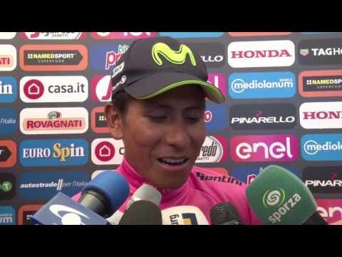 Nairo Quintana en la meta de la 19a etapa del Giro d'Italia 2017