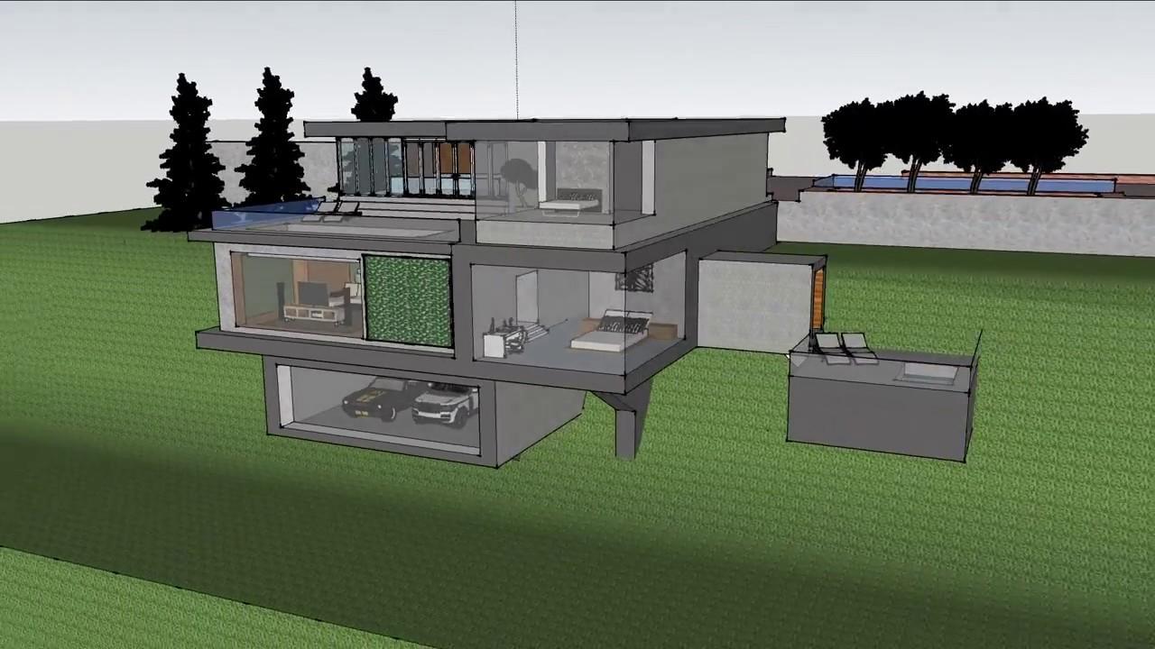Hillside Minimalist House Sketchup It Task Architect Mas Reva