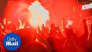 Fan gathered in Liverpool celebrate despite Champions League loss