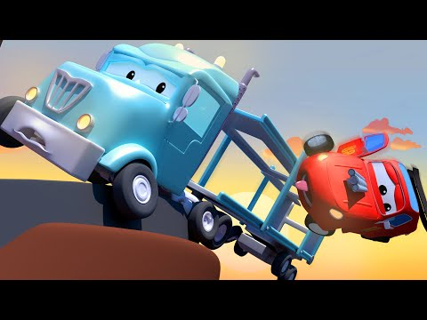 Charlotte the CAR CARRIER is stuck on the Mountain! The Car Patrol in Car City Police Car Fire Truck