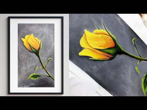 Step By Step Acrylic Painting On Canvas For Beginners Yellow Rose Art Ideas How To Paint Youtube