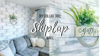 DIY DOLLAR TREE SHIPLAP WALL | DIY SHIPLAP WALL