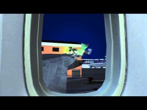 British Airways jet wing slices Johannesburg airport building