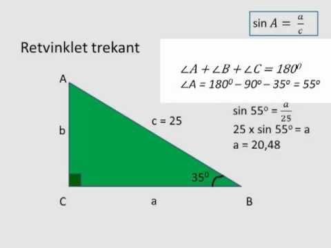 Trigonometri- Beregning af siderne i en retvinklet trekant from YouTube · Duration:  3 minutes 21 seconds