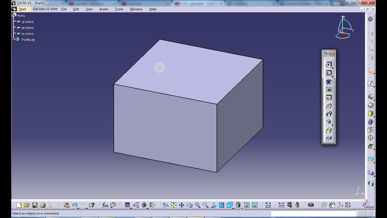 Demonstration of Part Design in Catia V5 Create a Simple Box-How it works  and Scope of tool