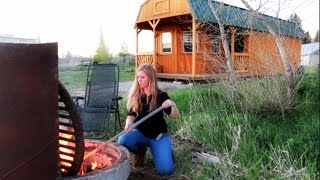 fire pit for cooking at the off grid cabin