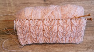 Узор «Двойные объёмные листики» спицами 🍂 « Double volumetric leaves» knitting pattern
