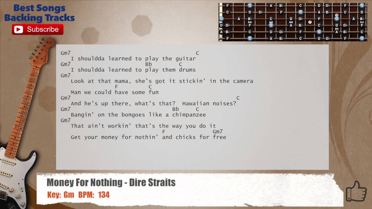Money For Nothing Dire Straits Guitar Backing Track With Chords