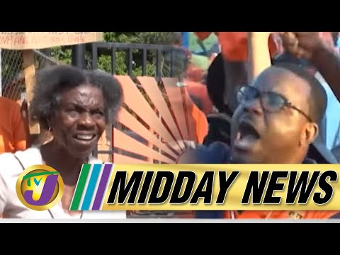 Protest at PNP Headquarters in Kingston Jamaica   JLP & PNP Reactions to Polls   TVJ Midday News