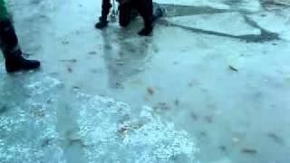 boy falls through ice, epic fail!