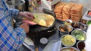 Chinese Crepe (jian Bing-guo Zi) In Dalian, China 2014