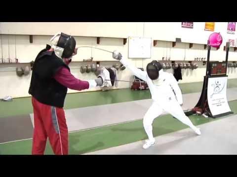 Talented arabic tv presenter sport program-قناة الجزيرة-أنت بطل-المبارزة بالسيف