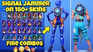 """NEW """"SIGNAL JAMMER"""" BACK BLING Showcased With 180+ SKINS! Fortnite BR (BEST SIGNAL JAMMER COMBOS)"""