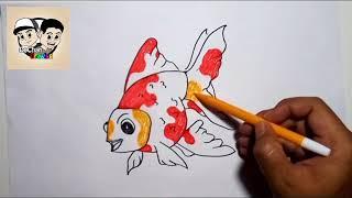 MENGGAMBAR & MEWARNAI Ikan Koki Lucu Untuk anak    Drawing and Coloring - goldfish