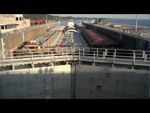 Barge Moving Through Kentucky Dam Lock System