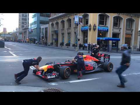 Red Bull F1 Car in Downtown San Francisco 04 (F1 U-turn)