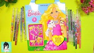 Sách chơi trò chơi, tô màu, dán hình BÚP BÊ BARBIE #1/ Toys for kids Ami Channel
