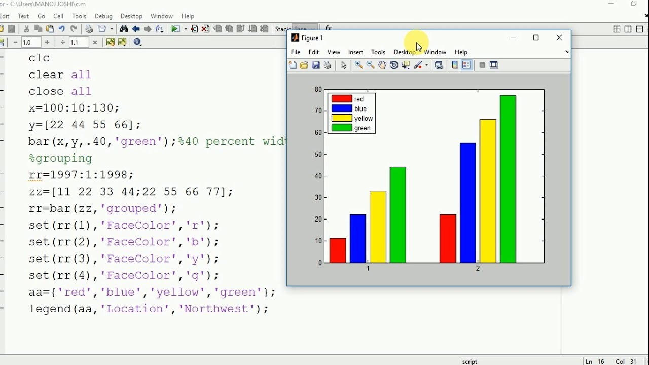 Plot bar graph of different width.color.height in matlab - YouTube