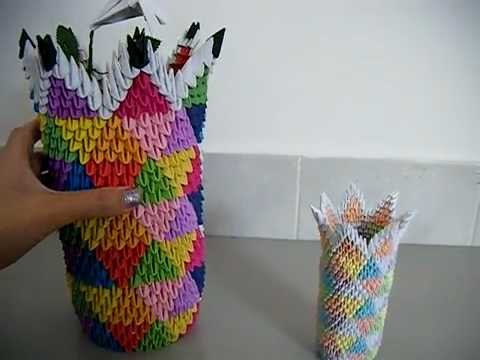 3d Origami Colourful Vases Youtube