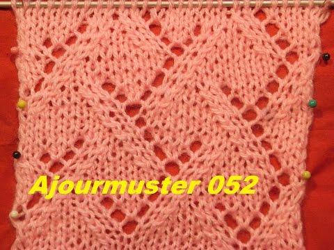 Karomuster Diamant Ajourmuster 052*Stricken lernen*Muster für Pullover*Mütze*Tutorial Kreativ